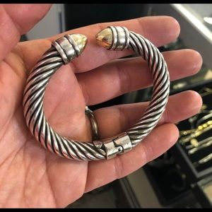 ALS Jewelry - ALS Italy Sterling & 18k Dome Hinged Cable Cuff